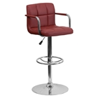 Quilted Faux Leather Barstool - Adjustable Height, with Arms, Burgundy