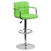 Quilted Faux Leather Barstool - Adjustable Height, with Arms, Green