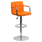 Quilted Faux Leather Barstool - Adjustable Height, with Arms, Orange