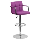 Quilted Faux Leather Barstool - Adjustable Height, with Arms, Purple