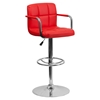 Quilted Faux Leather Barstool - Adjustable Height, with Arms, Red