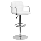 Quilted Faux Leather Barstool - Adjustable Height, with Arms, White