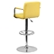 Quilted Faux Leather Barstool - Adjustable Height, with Arms, Yellow - FLSH-CH-102029-YEL-GG
