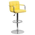 Quilted Faux Leather Barstool - Adjustable Height, with Arms, Yellow