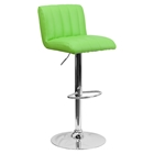Faux Leather Adjustable Height Barstool - Green