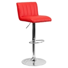 Faux Leather Adjustable Height Barstool - Red