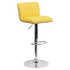 Faux Leather Adjustable Height Barstool - Yellow