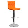 Faux Leather Barstool - Orange, Button Tufted, Adjustable Height