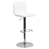 Faux Leather Barstool - White, Button Tufted, Adjustable Height