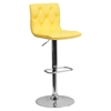 Faux Leather Barstool - Yellow, Button Tufted, Adjustable Height