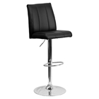 Faux Leather Barstool - Adjustable Height, Black