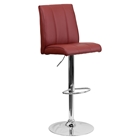 Faux Leather Barstool - Adjustable Height, Burgundy