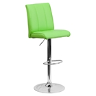 Faux Leather Barstool - Adjustable Height, Green