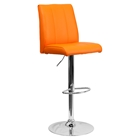 Faux Leather Barstool - Adjustable Height, Orange