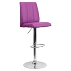 Faux Leather Barstool - Adjustable Height, Purple