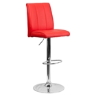 Faux Leather Barstool - Adjustable Height, Red
