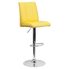 Faux Leather Barstool - Adjustable Height, Yellow