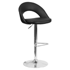 Faux Leather Adjustable Height Barstool - Rounded Back, Black