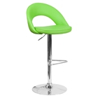 Faux Leather Adjustable Height Barstool - Rounded Back, Green