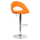 Faux Leather Adjustable Height Barstool - Rounded Back, Orange