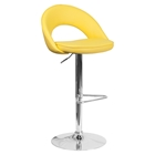 Adjustable Height Barstool - Rounded Back, Yellow, Faux Leather