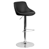 Adjustable Height Barstool - Bucket Seat, Faux Leather, Black