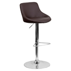 Adjustable Height Barstool - Bucket Seat, Faux Leather, Brown