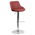 Bucket Seat Barstool - Adjustable Height, Burgundy