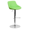 Adjustable Height Barstool - Bucket Seat, Faux Leather, Green