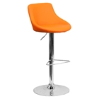 Adjustable Height Barstool - Bucket Seat, Faux Leather, Orange