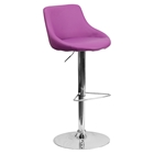 Adjustable Height Barstool - Bucket Seat, Faux Leather, Purple