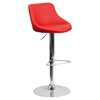 Adjustable Height Barstool - Bucket Seat, Faux Leather, Red