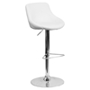 Adjustable Height Barstool - Bucket Seat, Faux Leather, White
