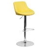 Adjustable Height Barstool - Bucket Seat, Faux Leather, Yellow