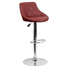 Adjustable Height Barstool - Bucket Seat, Burgundy