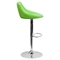 Adjustable Height Barstool - Bucket Seat, Green, Faux Leather - FLSH-CH-82028A-GRN-GG