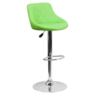 Adjustable Height Barstool - Bucket Seat, Green, Faux Leather