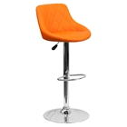 Adjustable Height Barstool - Bucket Seat, Orange, Faux Leather