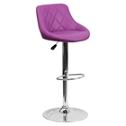 Adjustable Height Barstool - Bucket Seat, Purple, Faux Leather