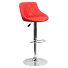 Adjustable Height Barstool - Bucket Seat, Red, Faux Leather
