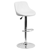 Adjustable Height Barstool - Bucket Seat, White, Faux Leather
