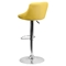Adjustable Height Barstool - Bucket Seat, Yellow, Faux Leather - FLSH-CH-82028A-YEL-GG