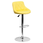 Adjustable Height Barstool - Bucket Seat, Yellow, Faux Leather