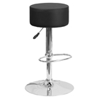 Adjustable Height Barstool - Backless, Faux Leather, Black