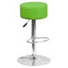 Adjustable Height Barstool - Backless, Faux Leather, Green
