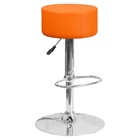 Adjustable Height Barstool - Backless, Faux Leather, Orange