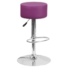 Adjustable Height Barstool - Backless, Purple, Faux Leather