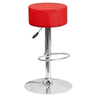 Adjustable Height Barstool - Backless, Faux Leather, Red