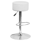 Adjustable Height Barstool - Backless, Faux Leather, White