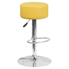 Adjustable Height Barstool - Backless, Faux Leather, Yellow